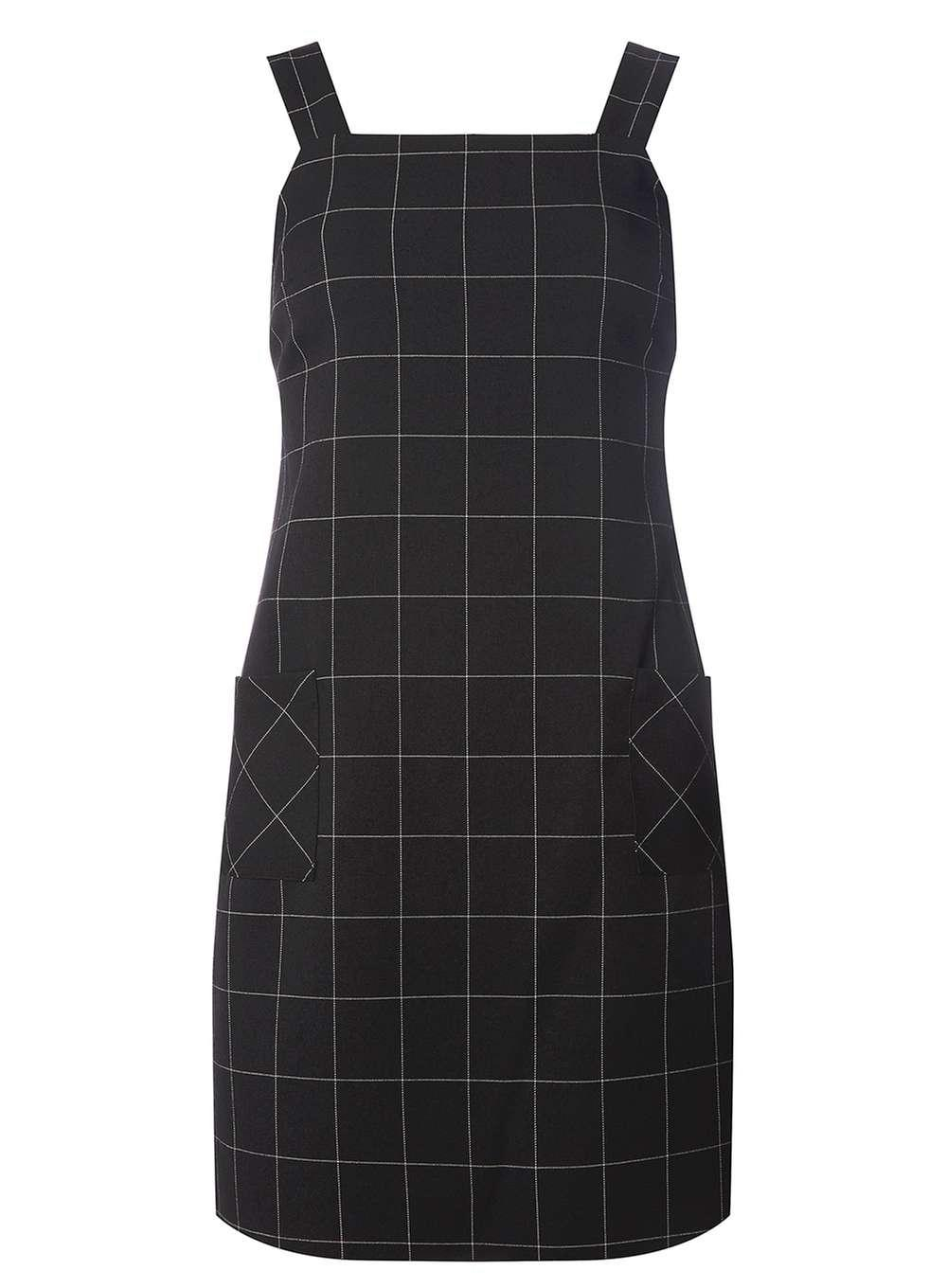 a6d98deb2c3 Lyst Dorothy Perkins Black Checked Pinafore Dress In