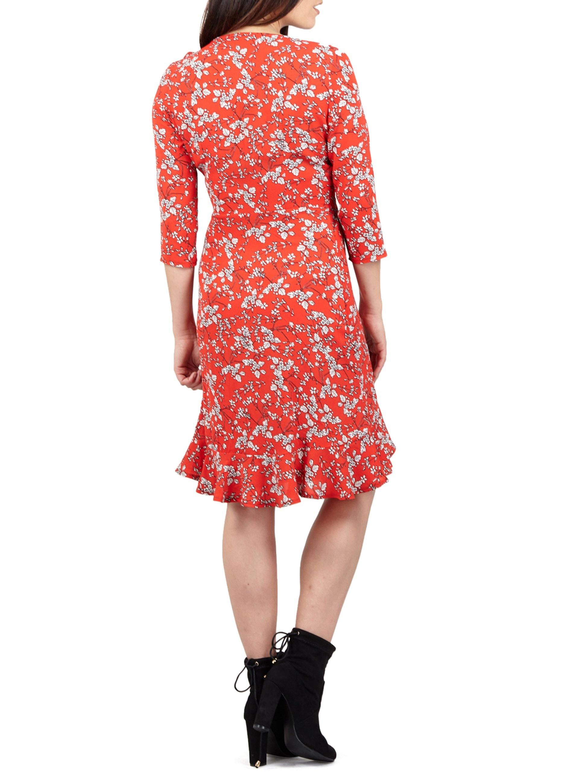 00a11e12b2f4f Dorothy Perkins Izabel London Red Ditsy Floral Print Wrap Dress in ...