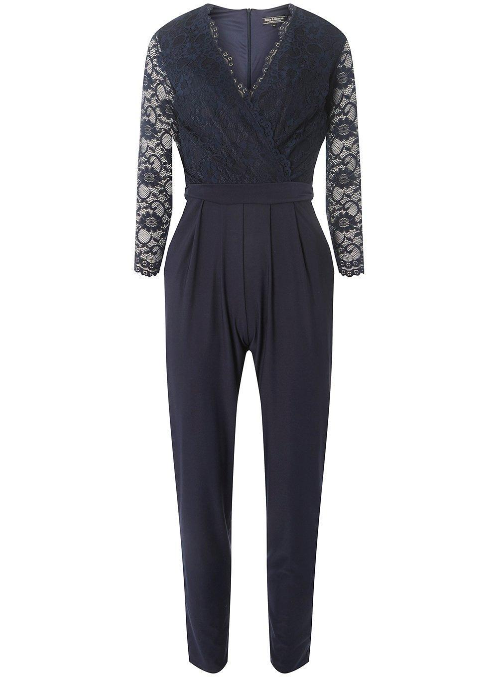 1bab0b39d253 Lyst - Dorothy Perkins Billie   Blossom Navy Lace Jumpsuit in Blue