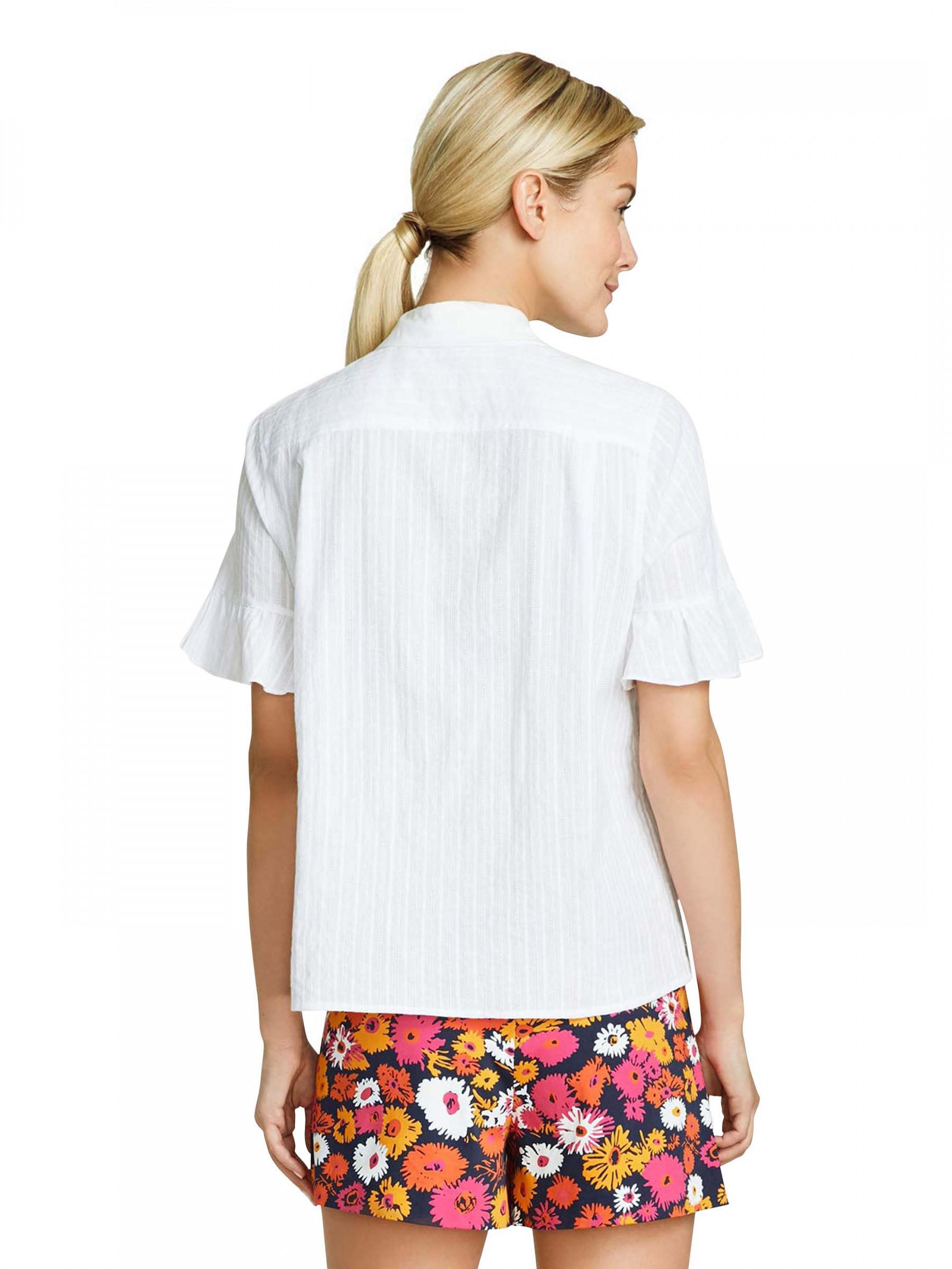 26d5ad4dcb Lyst - Draper James Roxanne Ruffle Button Down Shirt in White