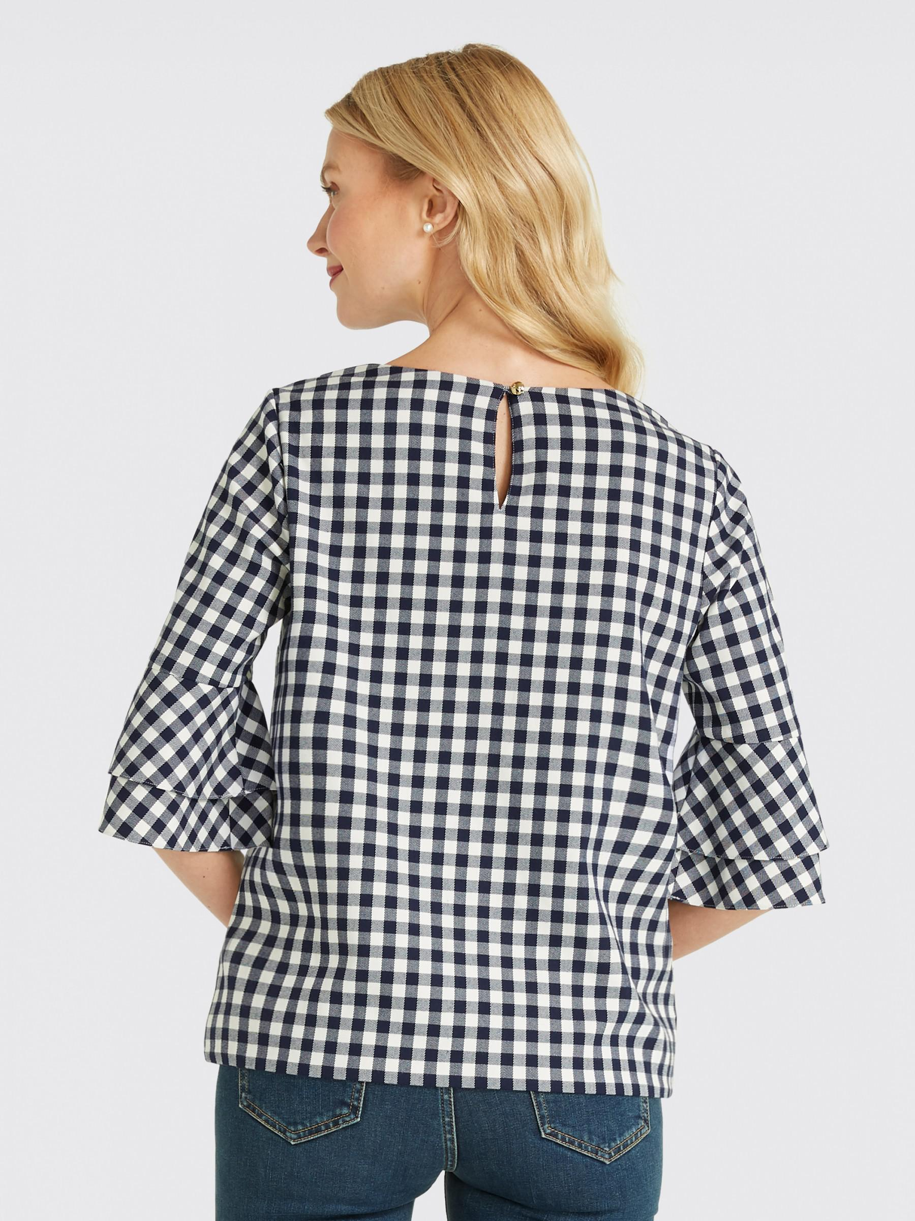 8379254c18b Lyst - Draper James Gingham Bell Sleeve Top in Blue