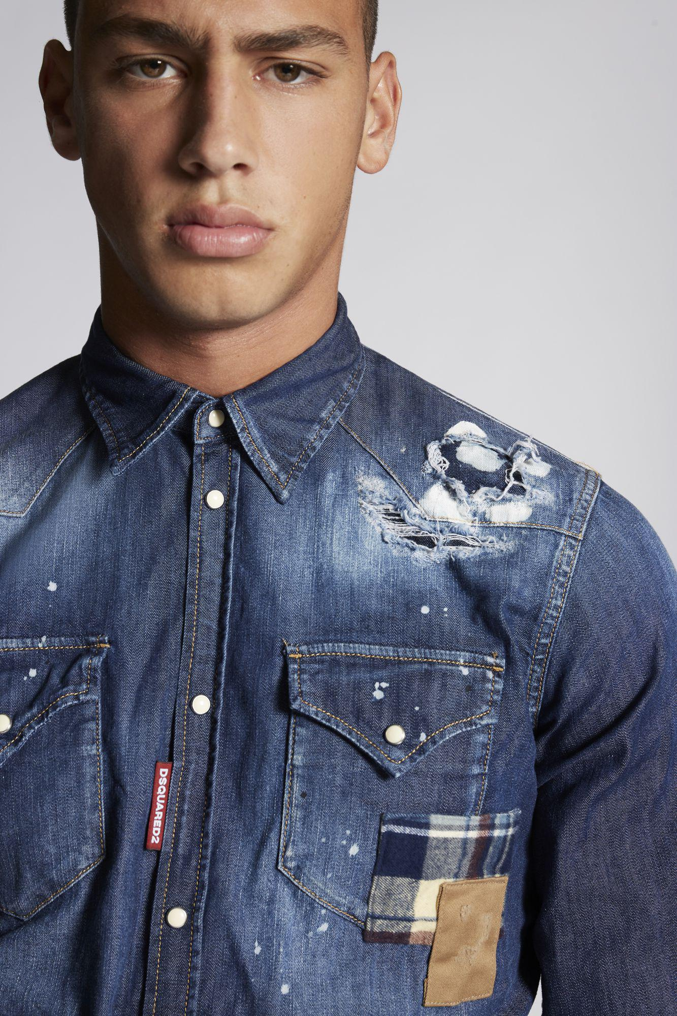 1e6f8c58ade DSquared² Patch Bleached Hole Light Western Denim Shirt in Blue for ...