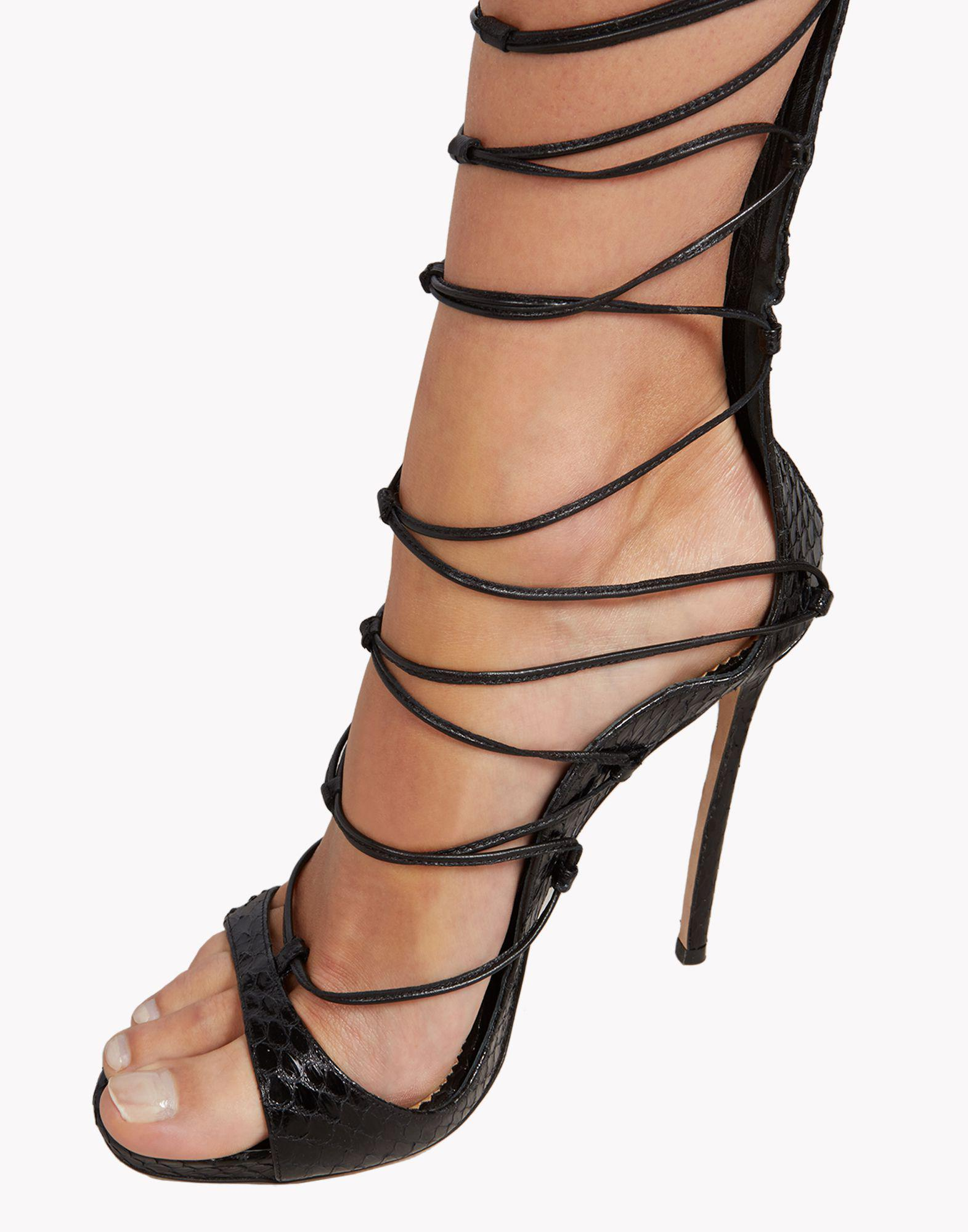 4ff9b5b851a Lyst - DSquared² Riri Leather Knee-High Sandals in Black