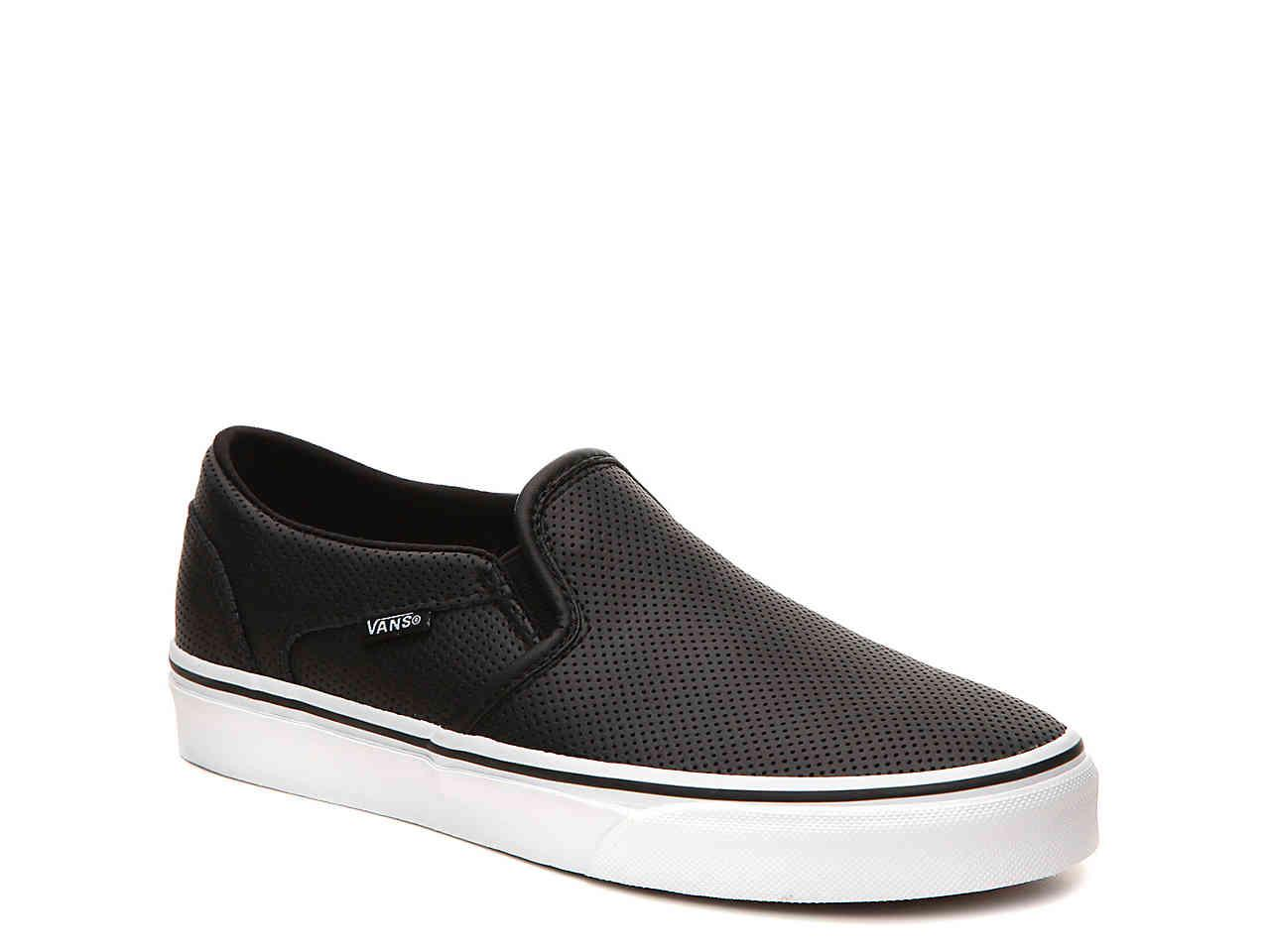 9d40624bcb Lyst - Vans Asher Perforated Slip-on Sneaker in Black
