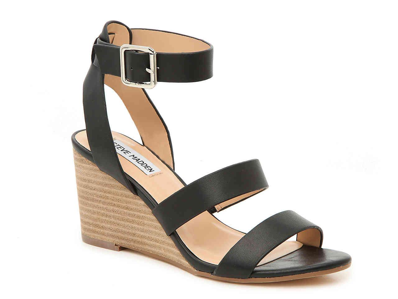 0b2c44b0daa Steve Madden - Black Caley Wedge Sandal - Lyst. View fullscreen