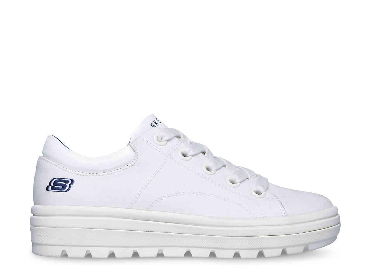 87c6981f2f4ff Lyst - Skechers Street Cleat Back Again Platform Sneaker in White