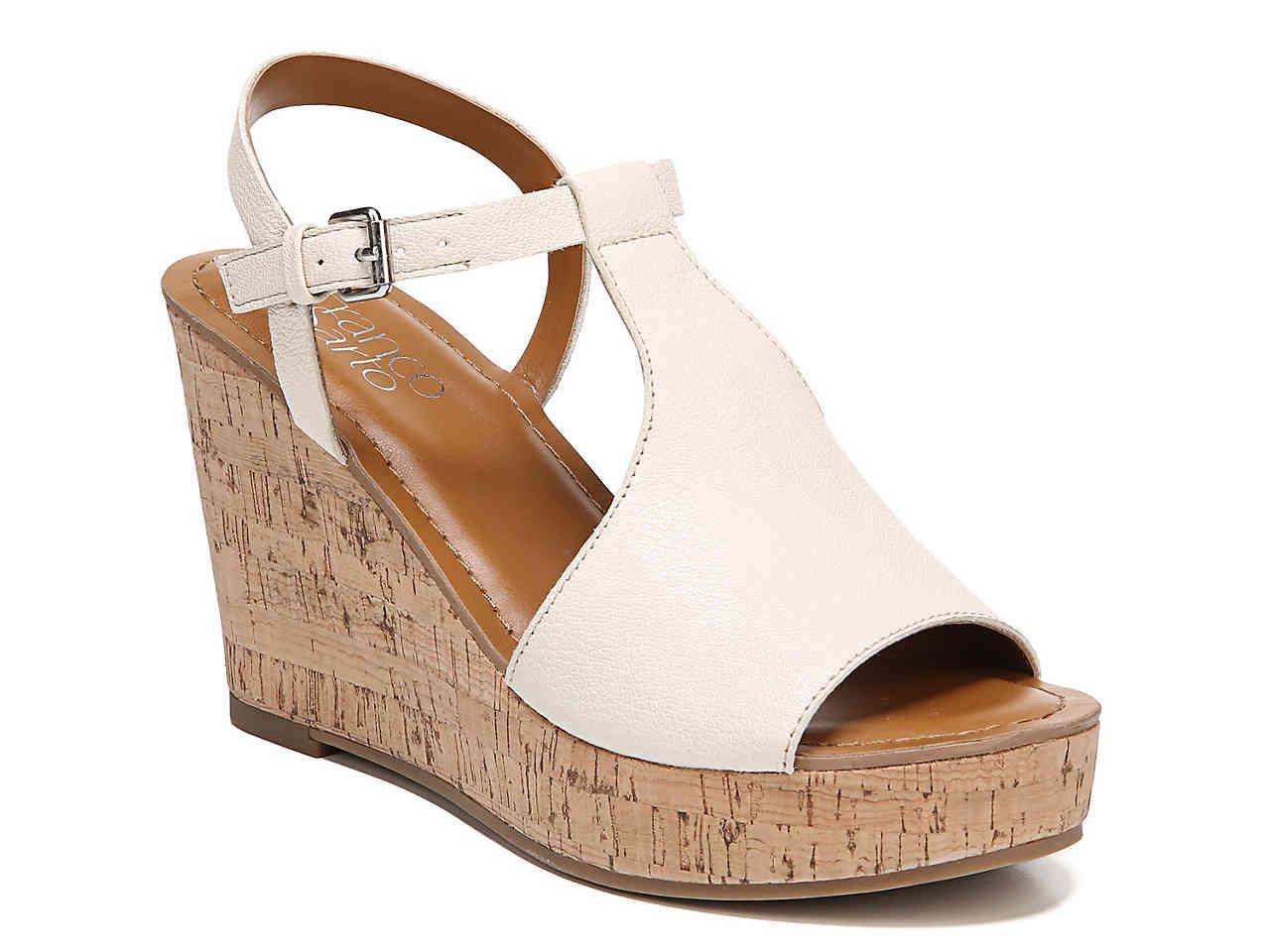 04fc0085b2ec Lyst - Franco Sarto Clinton Wedge Sandal in White