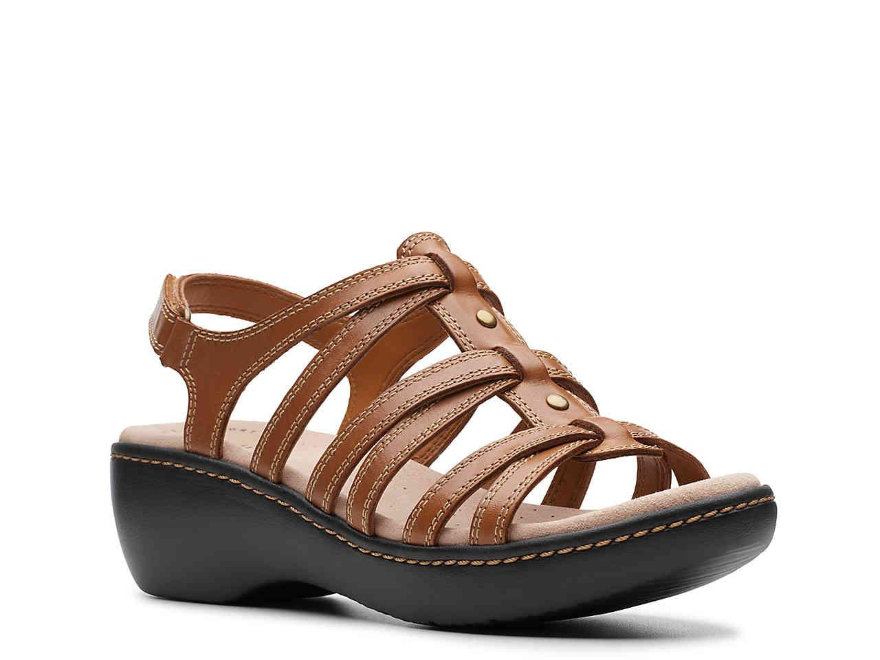 fa63d02c1426 Lyst - Clarks Delana Curve Wedge Sandal in Brown