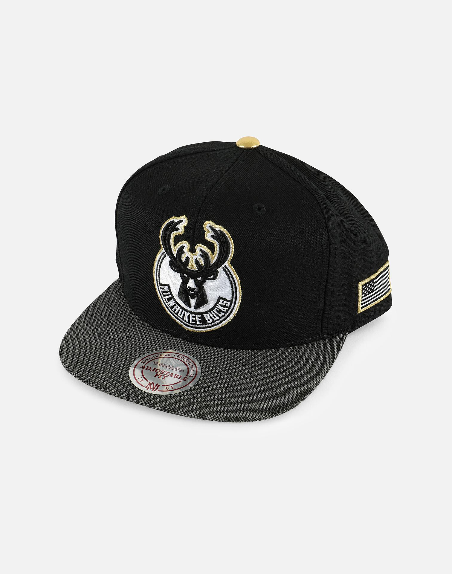 ... spain mitchell ness. mens black milwaukee bucks gold tip snapback hat  36ee4 cb1d2 55a4ee2da63c