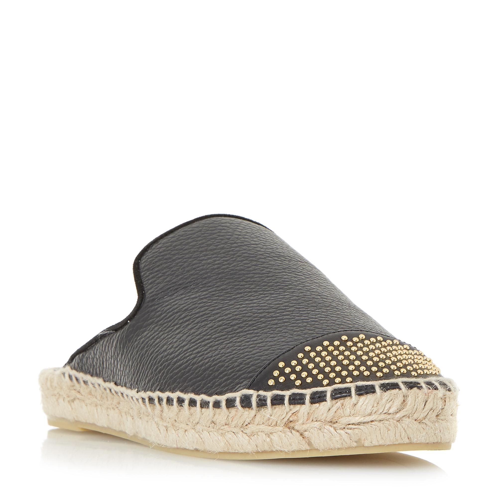 Dune  Women's Black Backless Espadrille Loafer Shoe