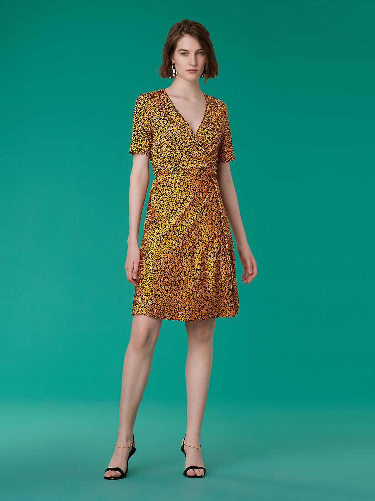 38748b87f39c Diane von Furstenberg Short-sleeve Satin Flare Wrap Dress - Lyst