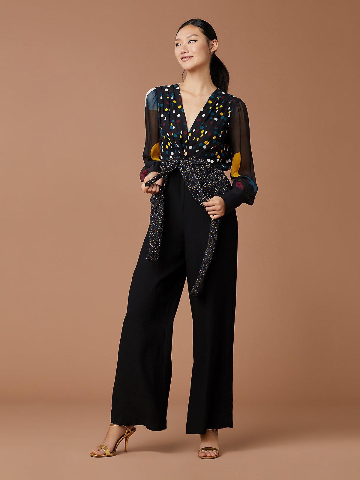 a484d1c02db Lyst - Diane von Furstenberg Sophie Dot Jumpsuit in Black