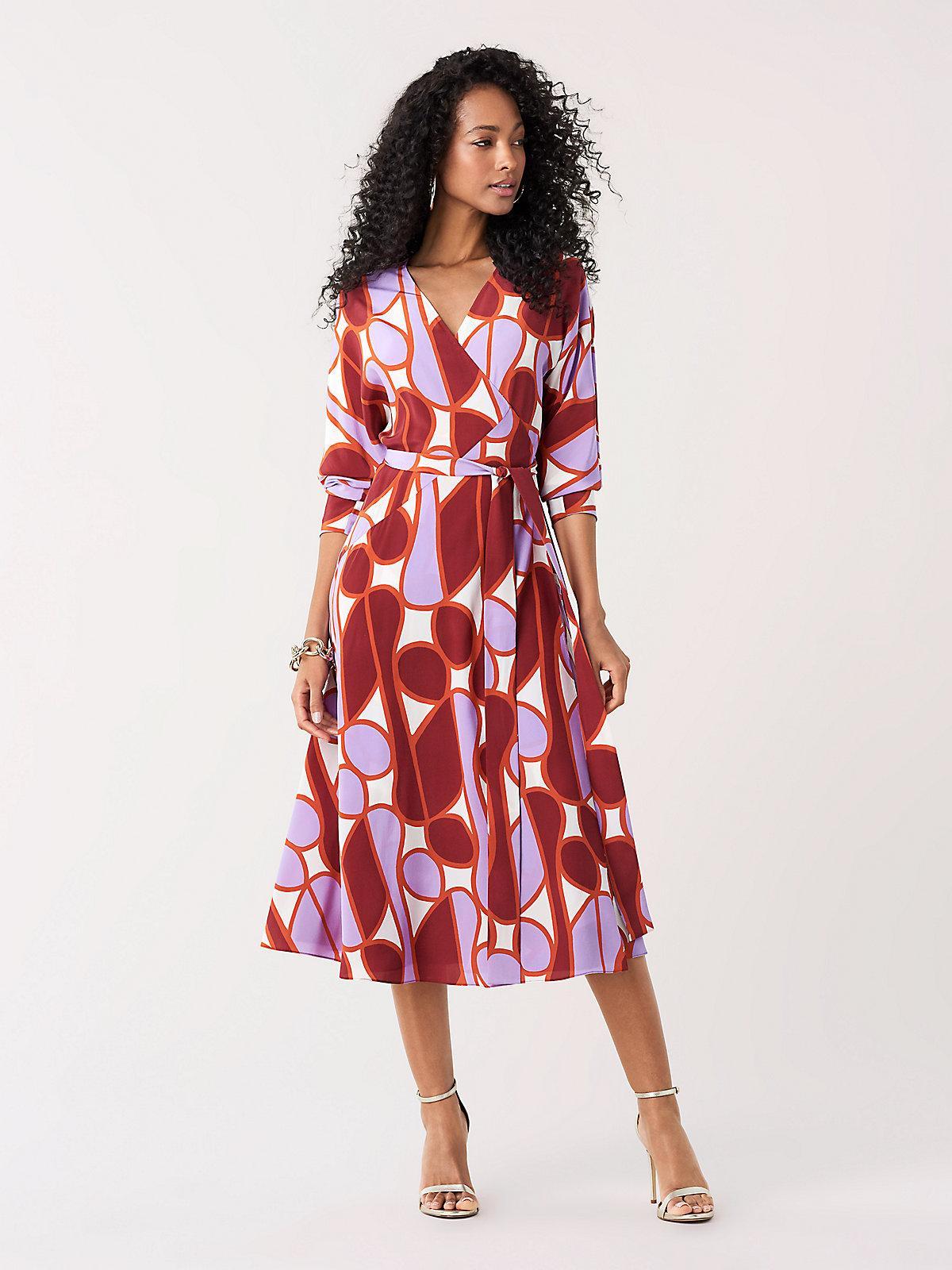 Diane Von Furstenberg Elle Silk Crepe De Chine Midi Wrap