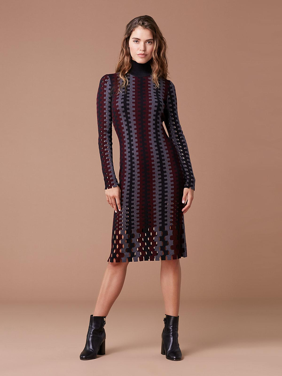 427a6785898a Diane von Furstenberg - Blue Turtleneck Knit Wool Midi Dress - Lyst. View  fullscreen
