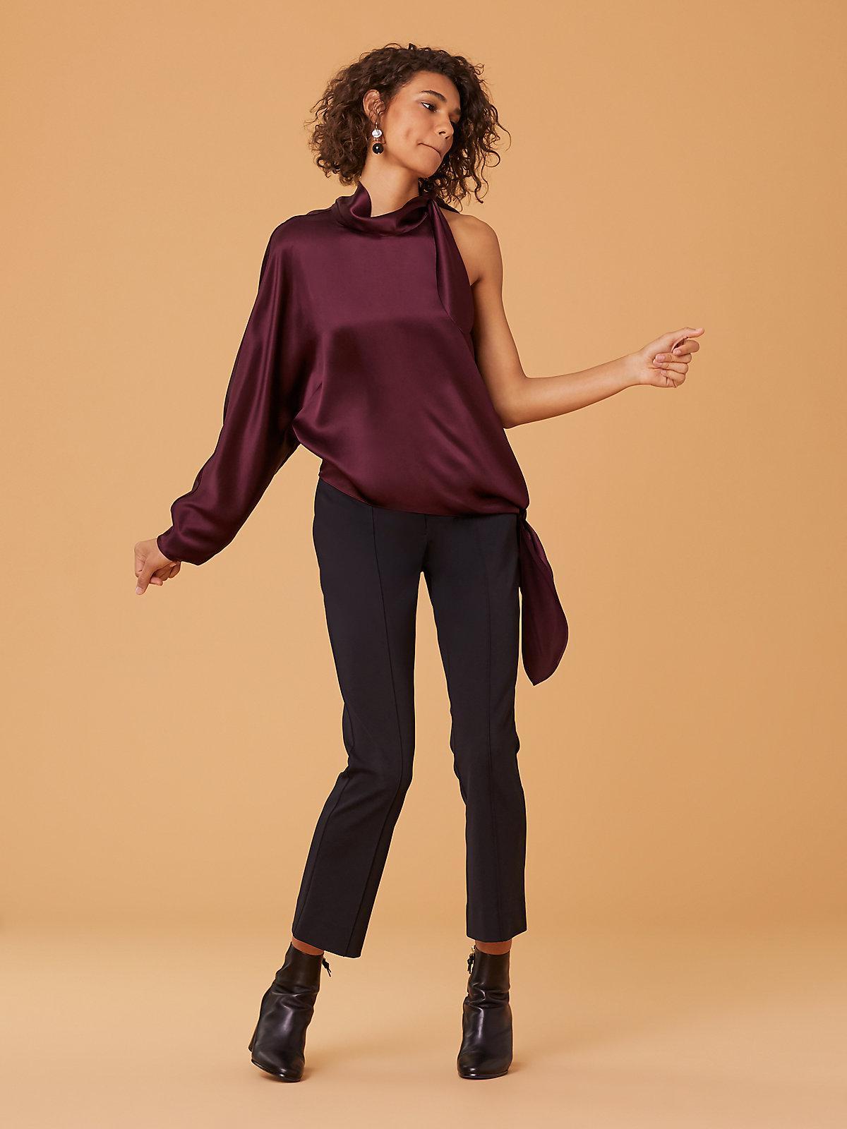 968ba51742b Lyst - Diane von Furstenberg One Shoulder Knotted Blouse in Purple