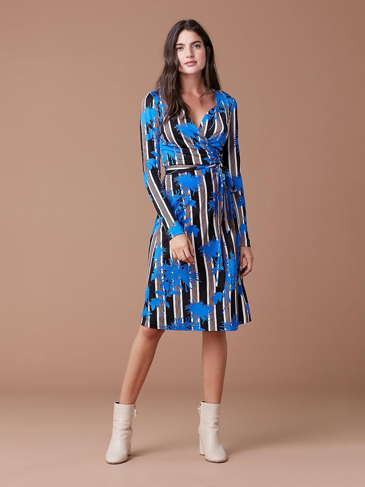 89685c7613ed Diane von Furstenberg Long Sleeve Julian Wrap Dress in Blue - Lyst
