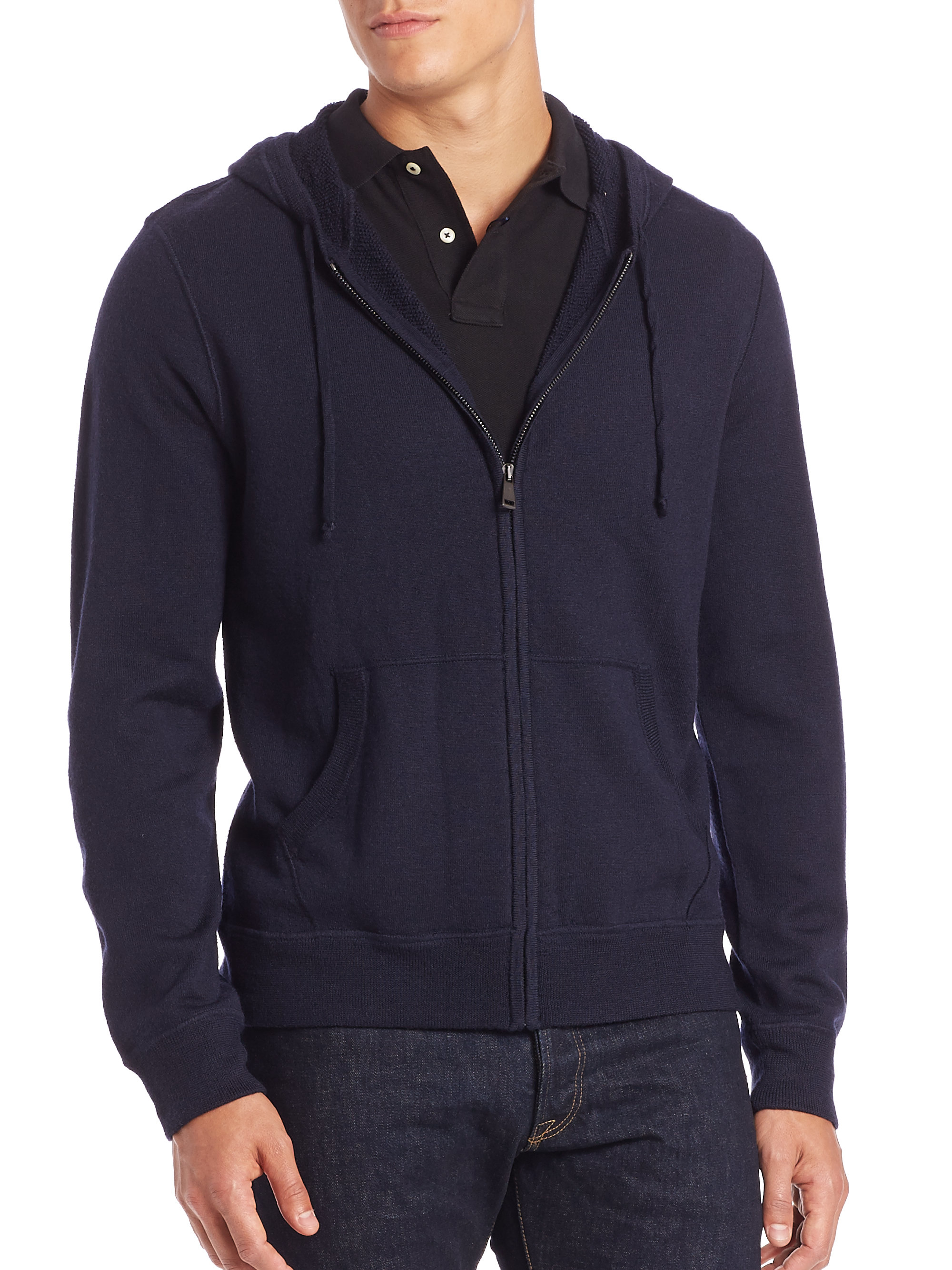 polo ralph lauren merino full zip hoodie in blue for men lyst. Black Bedroom Furniture Sets. Home Design Ideas