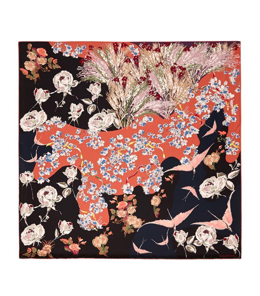 valentino floral bird print silk scarf in black lyst