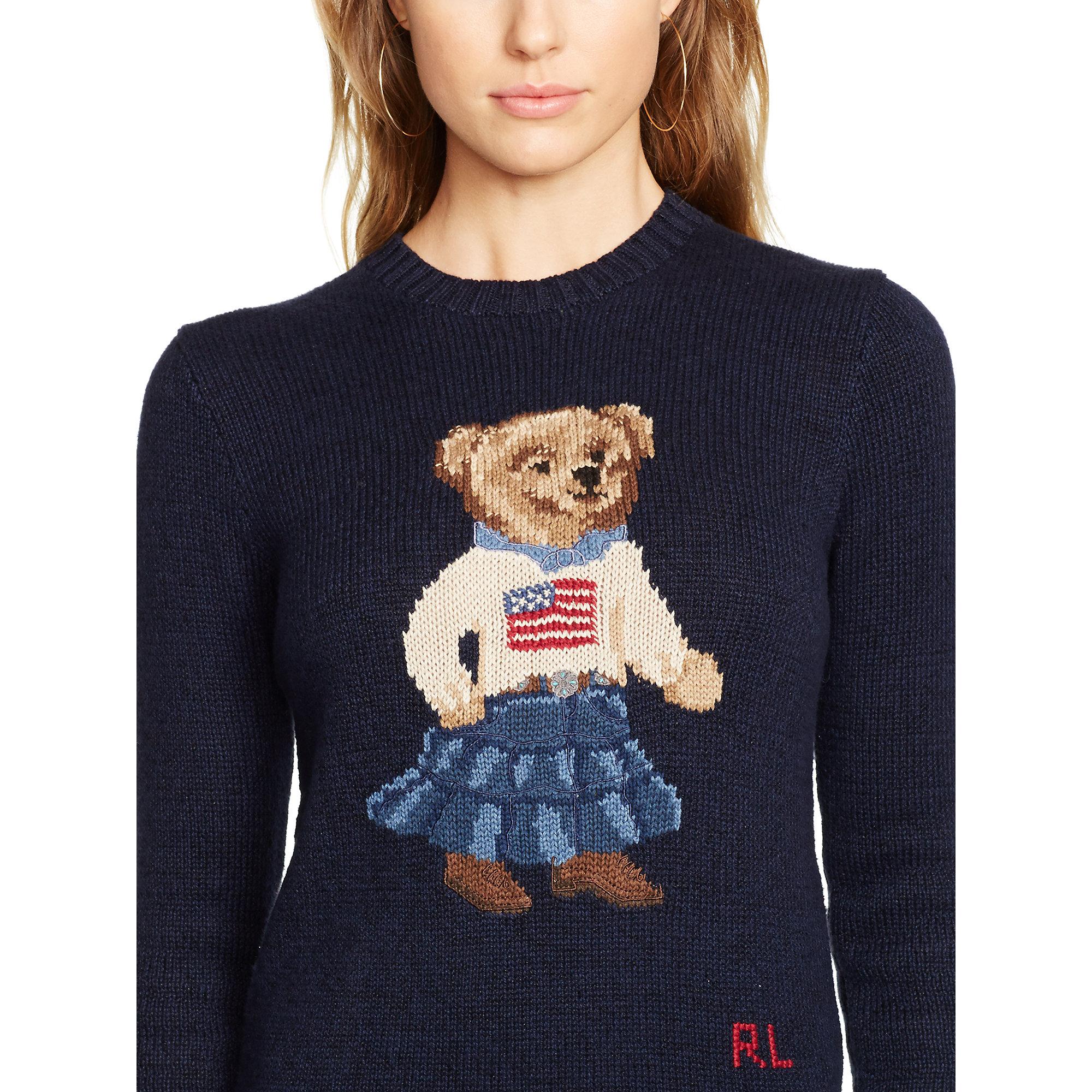 2cc90f5b8 Polo Ralph Lauren Pima Cotton Bear Sweater in Blue - Lyst