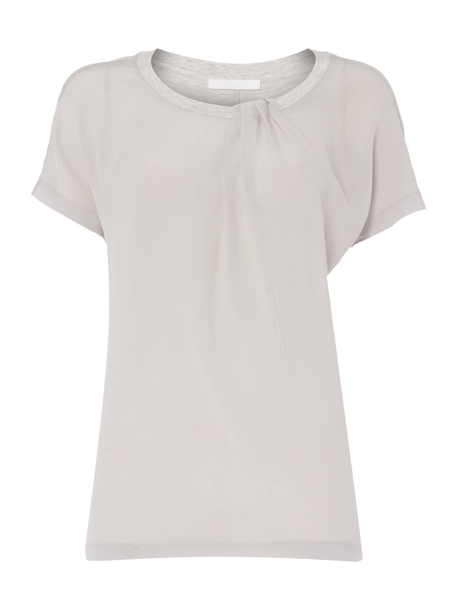 Boss Esmee Silk Front Jersey Back Tshirt in Gray