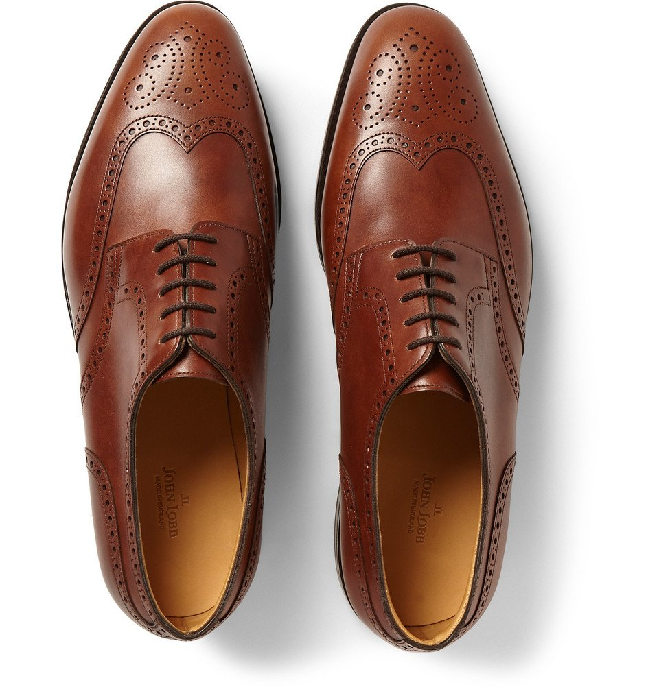 John Lobb Darby Ii Leather Wingtip Brogues In Brown For