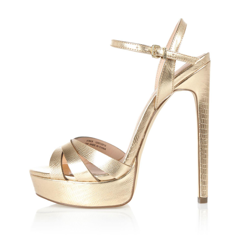 Gold metallic platform sandals