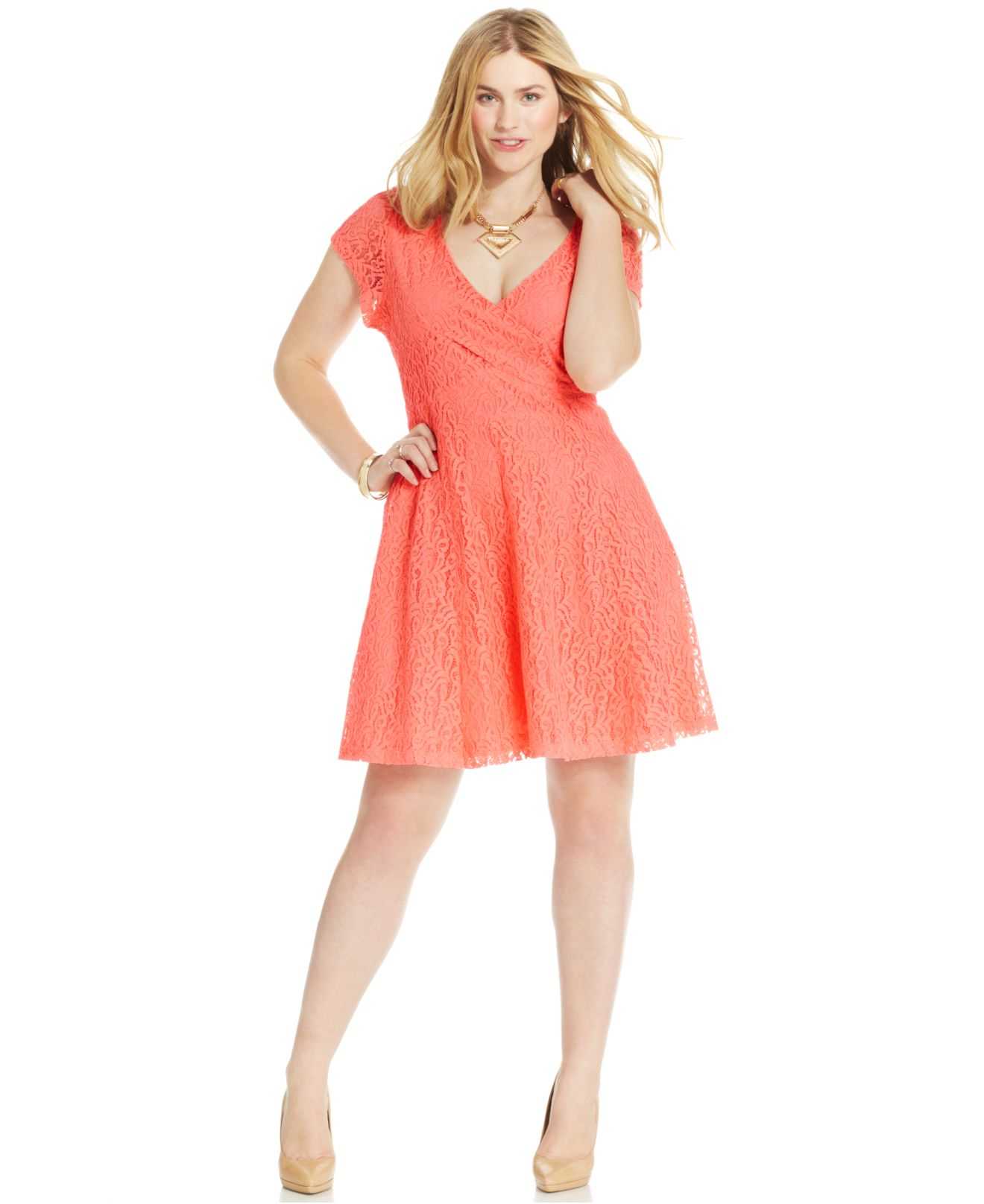 Jessica simpson plus size kaitlee lace a line dress in orange lyst gallery ombrellifo Gallery