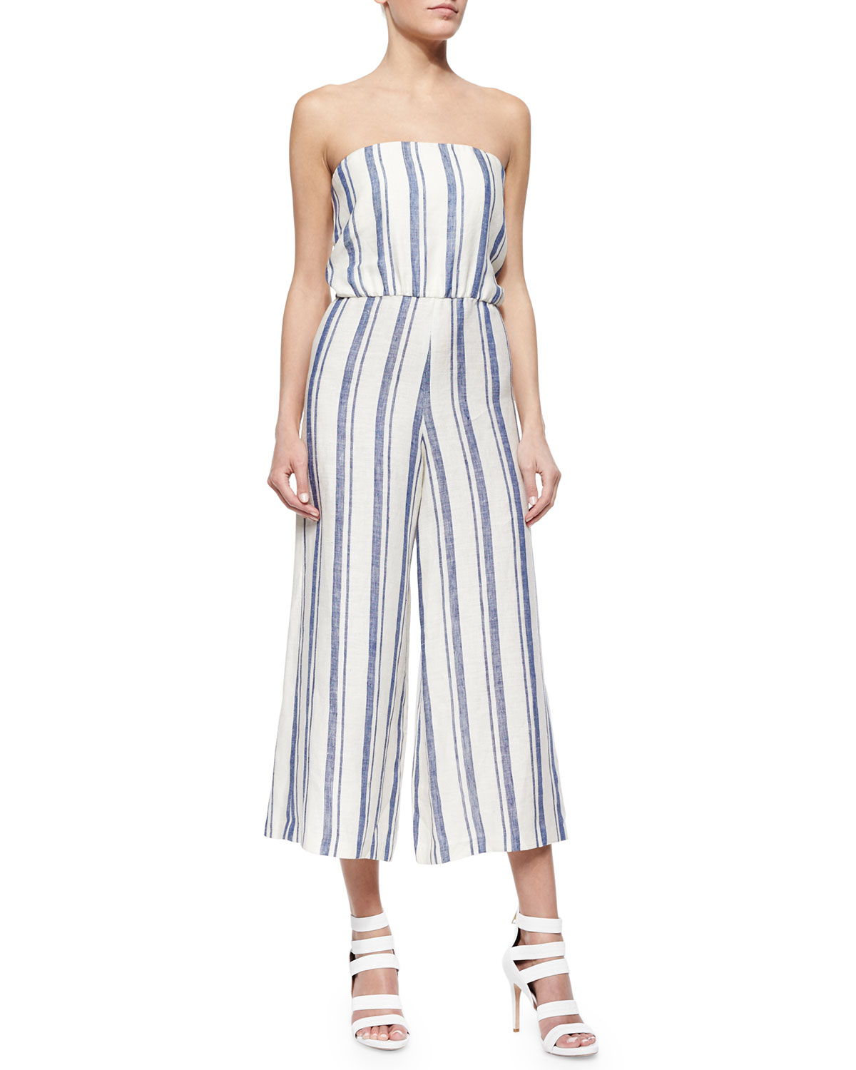 0257478262c Alice + Olivia Lucie Striped Strapless Wide-leg Linen Jumpsuit in ...