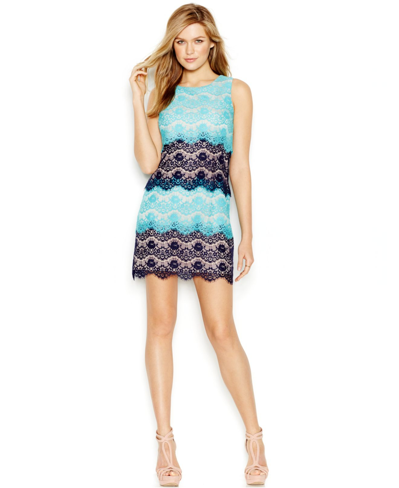 Jessica simpson Tiered Lace Cocktail Dress in Blue | Lyst