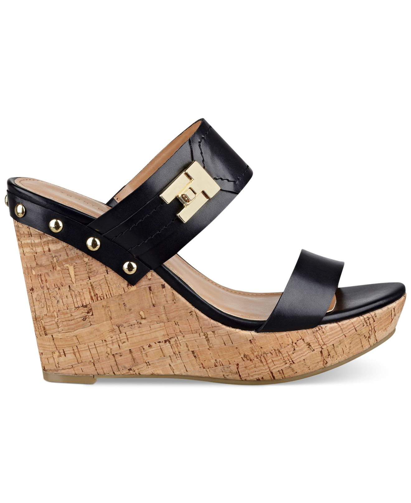 96043068064b4f Lyst - Tommy Hilfiger Women s Madasen Platform Wedge Sandals in Black