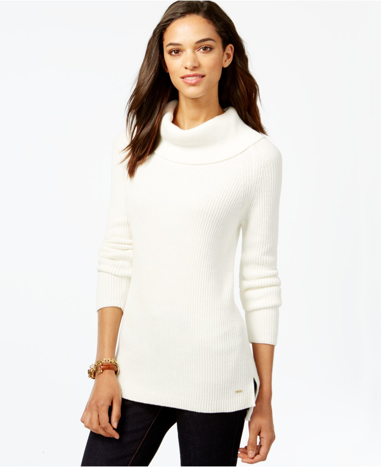 Tommy hilfiger Ribbed Cowl-neck Sweater in White | Lyst