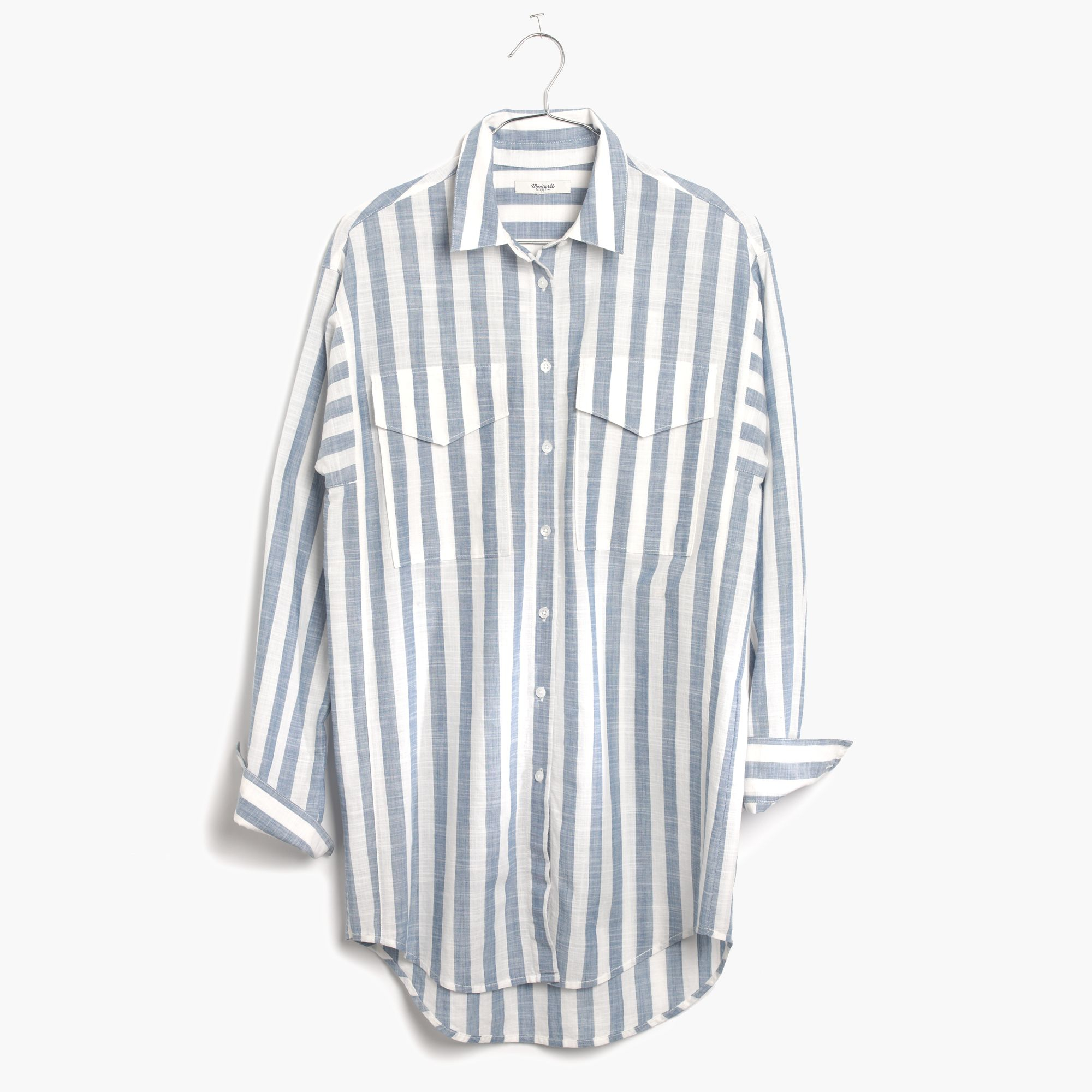 Madewell Oversized Button Down Shirt In Major Stripe In