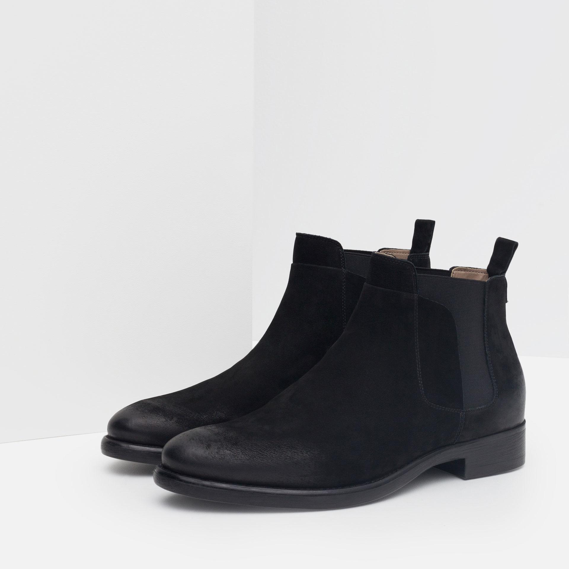 Zara Leather Chelsea Boots In Black For Men Lyst
