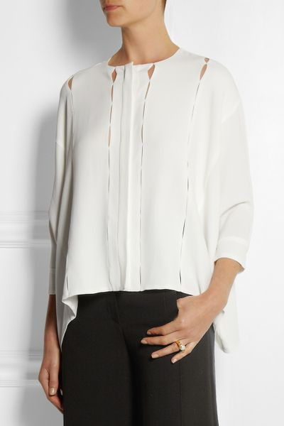 Womens White Crepe Blouse 8