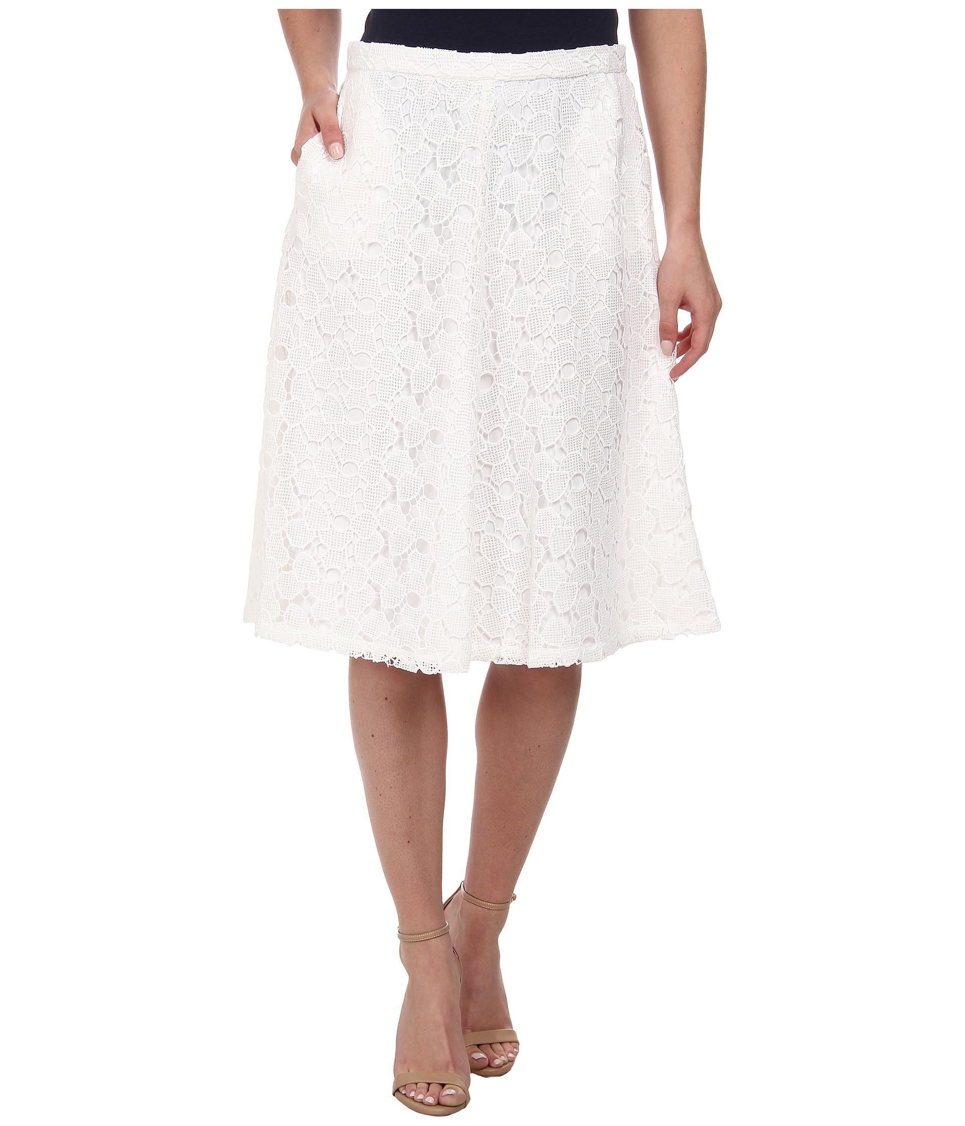 5d2fc6abe9 Calvin Klein Lace Midi Skirt in White - Lyst