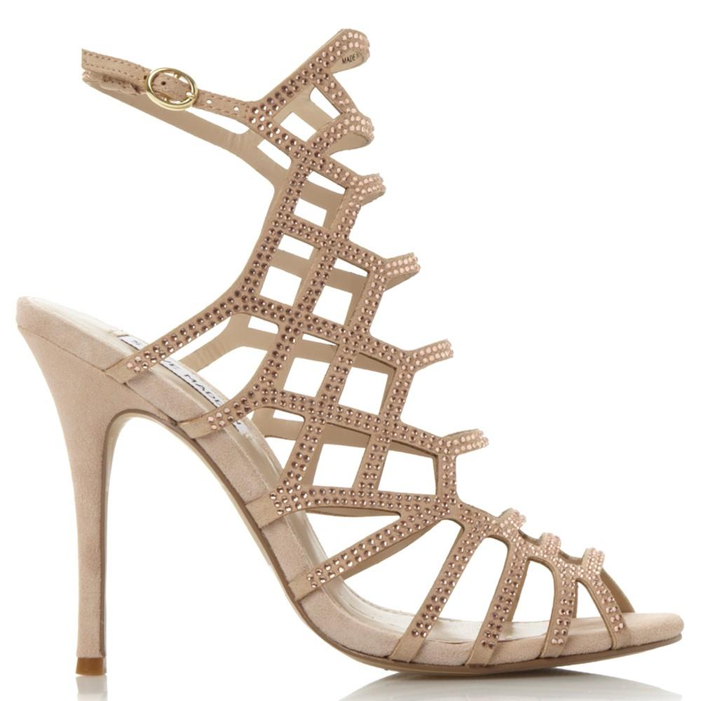 bb72e849541 Steve Madden Slithur Caged Stiletto Heel Sandals in Natural - Lyst