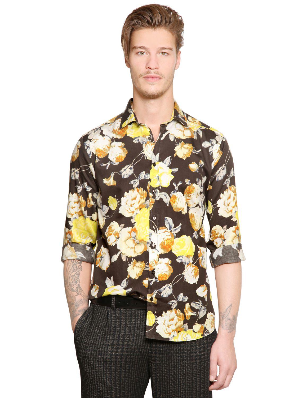 Lyst etro floral print cotton poplin shirt for men for Etro men s shirts