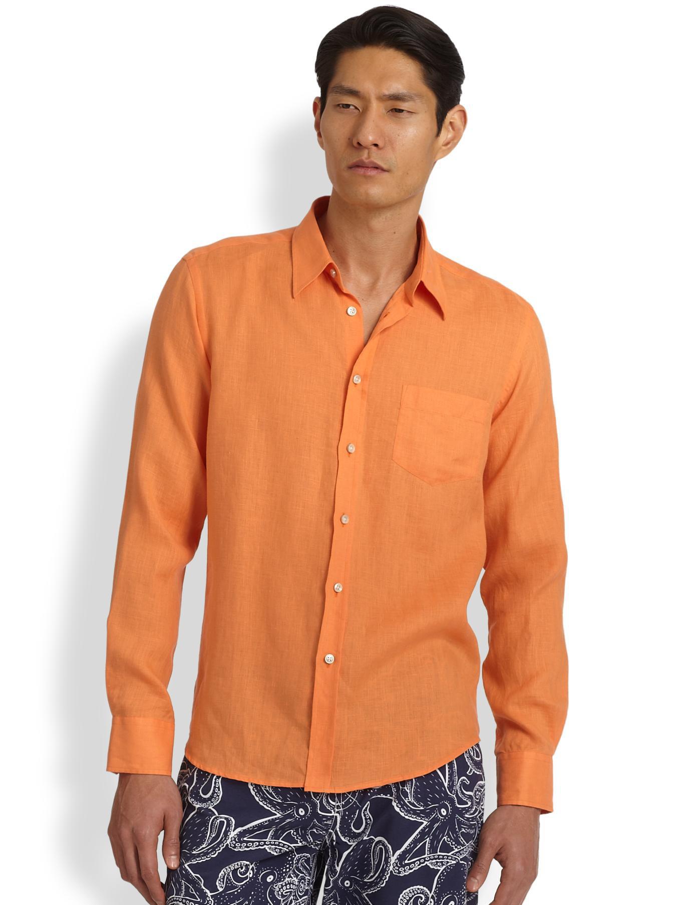 Vilebrequin Linen Sportshirt In Orange For Men Lyst