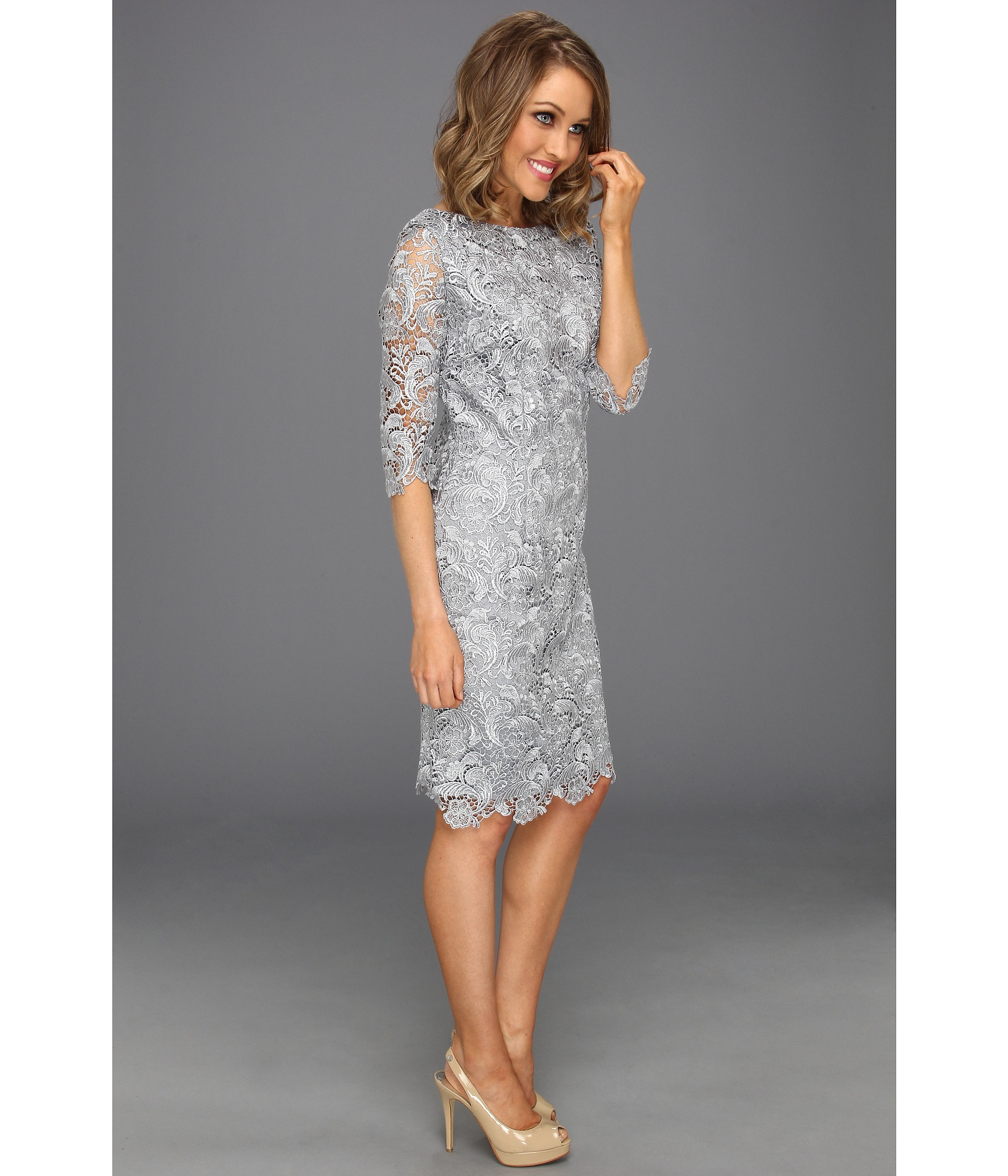 Eliza j 3/4 Sleeve Lace Sheath Dress in Gray | Lyst