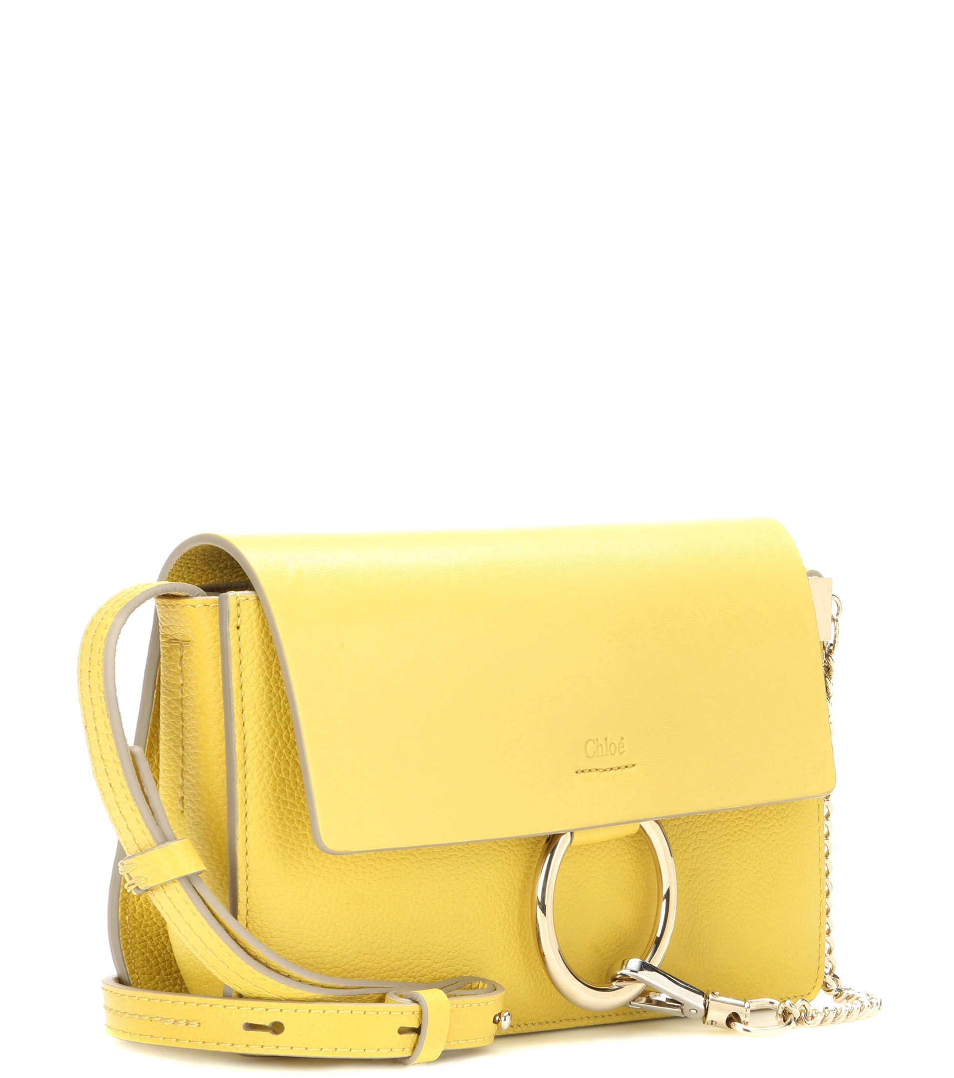 Chloé Faye Small Leather Shoulder Bag in Yellow | Lyst