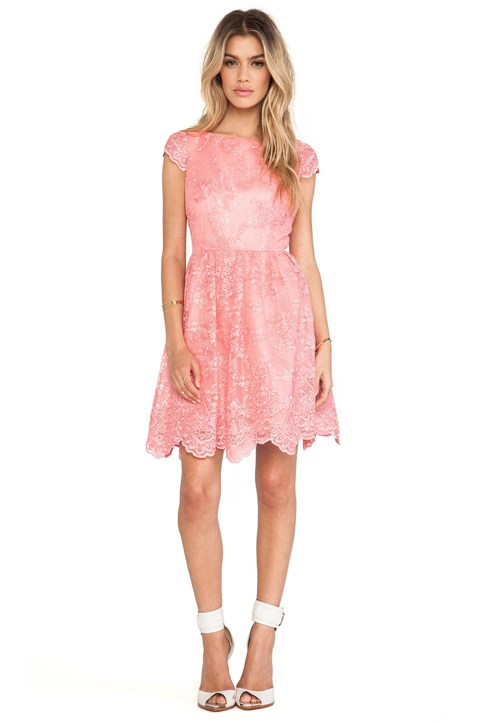 Alice Olivia Zenden Scallop Edge Aline Dress In Pink