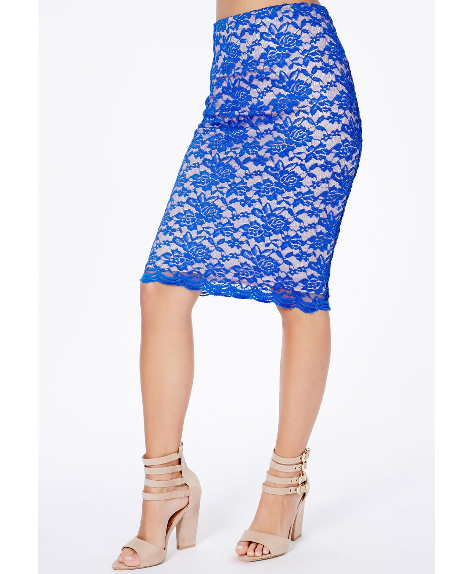 missguided cobalt blue midi skirt in lace in blue