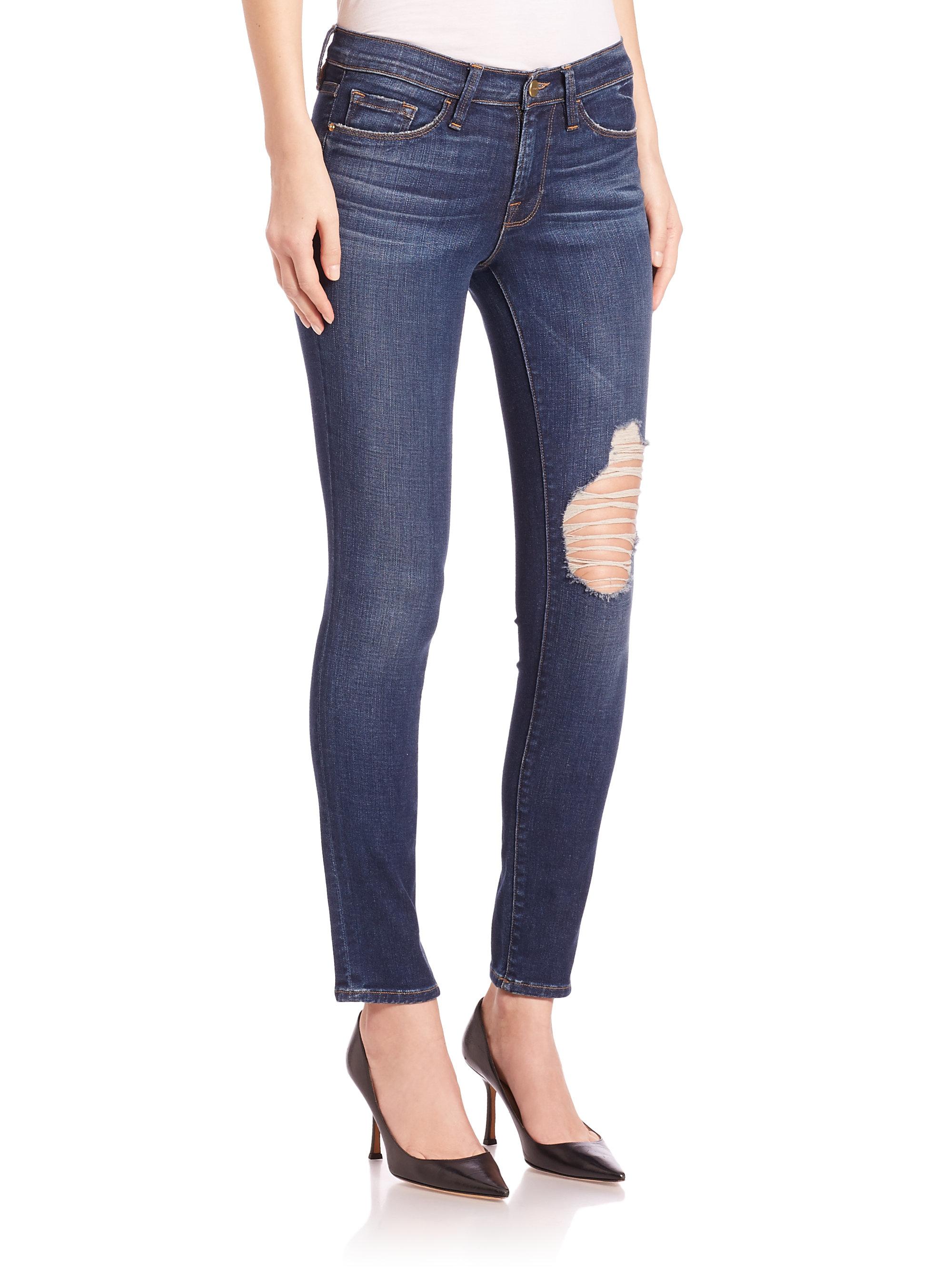 9fe5e77e9c6bf Lyst - FRAME Le Skinny De Jeanne Jeans in Blue