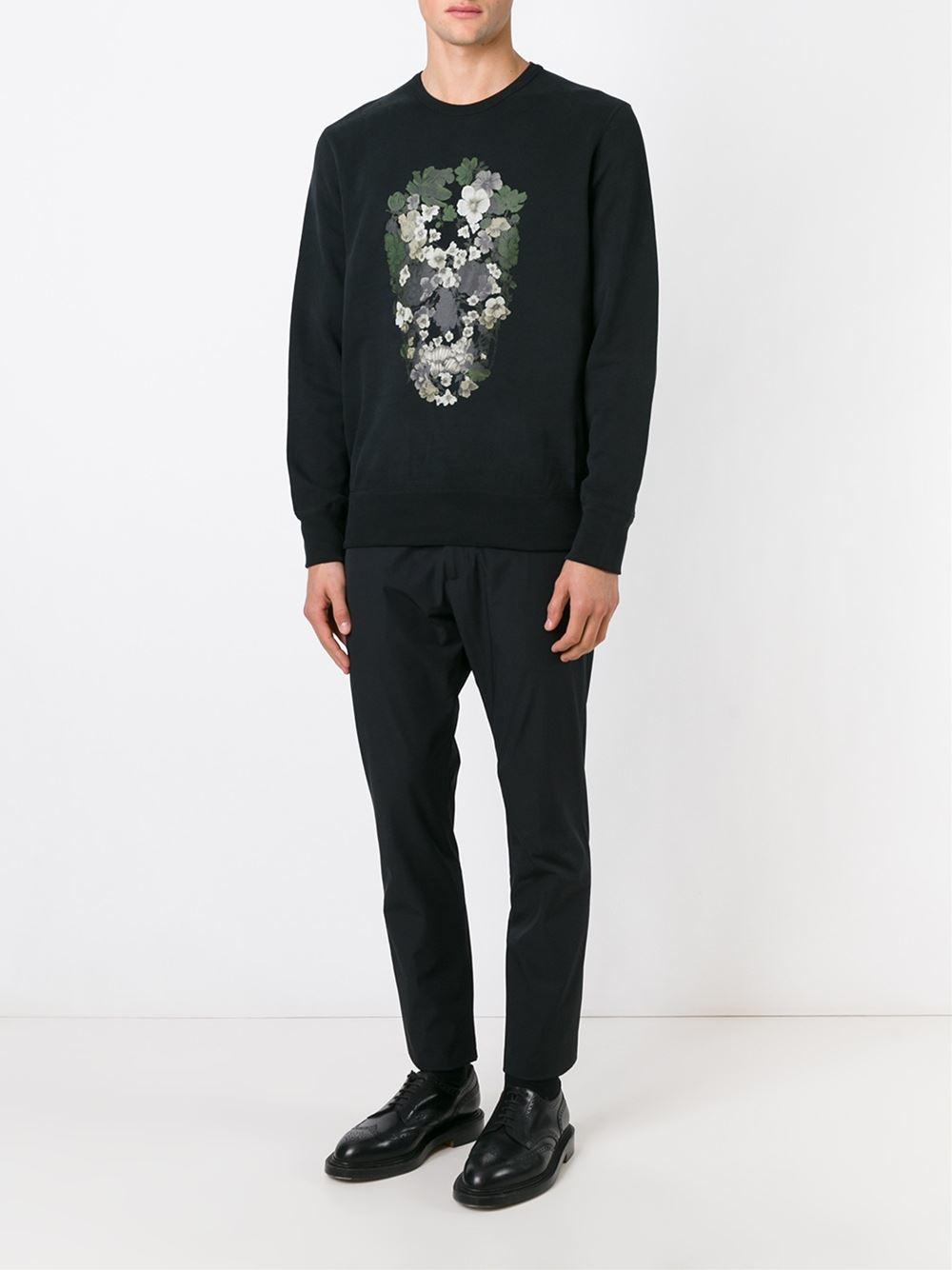 alexander mcqueen floral skull print sweatshirt in black for men floral lyst. Black Bedroom Furniture Sets. Home Design Ideas