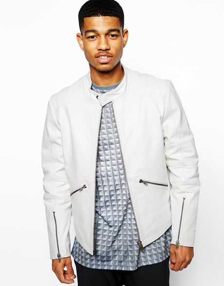 Asos Black Quilted Leather Jacket in White for Men   Lyst