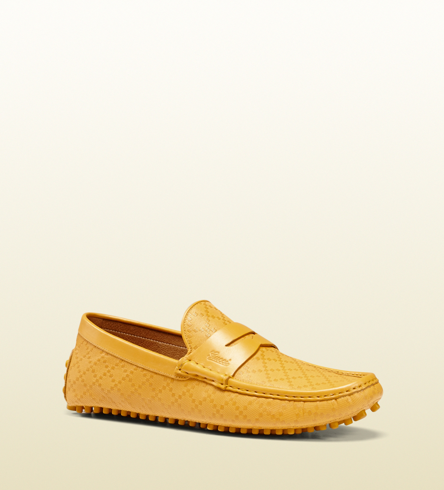 fbecfdaa5b0 Lyst - Gucci Diamante Leather Pebbled Sole Driver in Yellow for Men