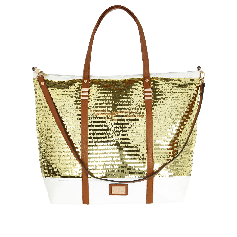 River Island Gold Beach Bag