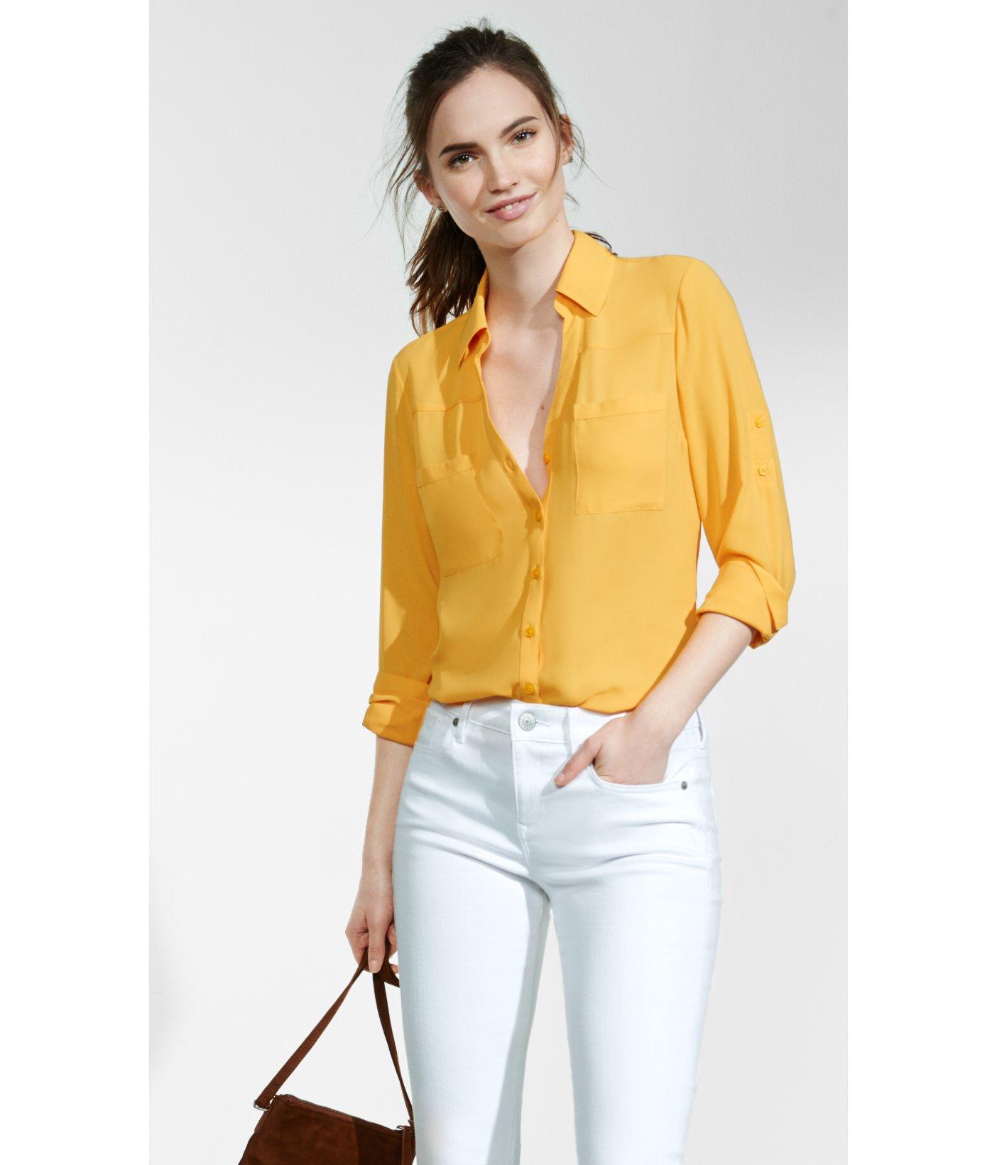 55b6425d77c7 slim fit satin portofino shirt EXPRESS VIEW Source · Lyst Express Original Fit  Convertible Sleeve Portofino Shirt in Yellow