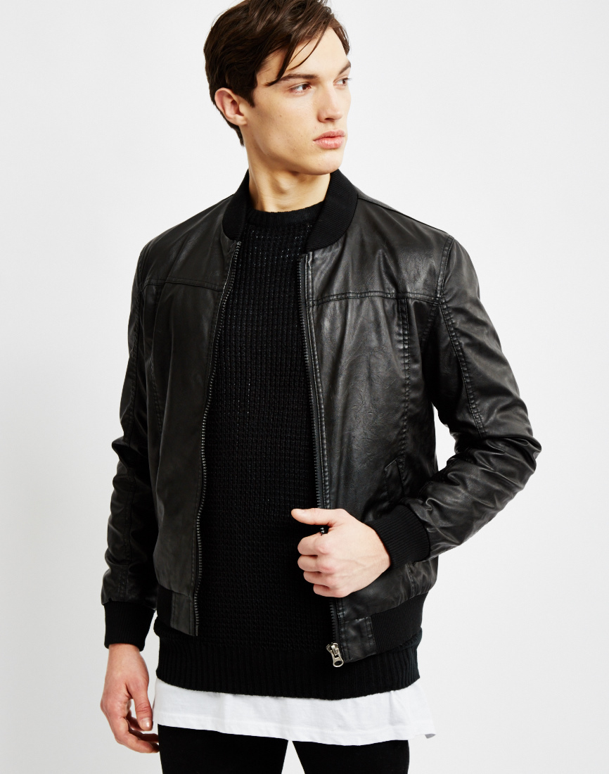 The idle man Faux Leather Bomber Jacket in Black for Men | Lyst