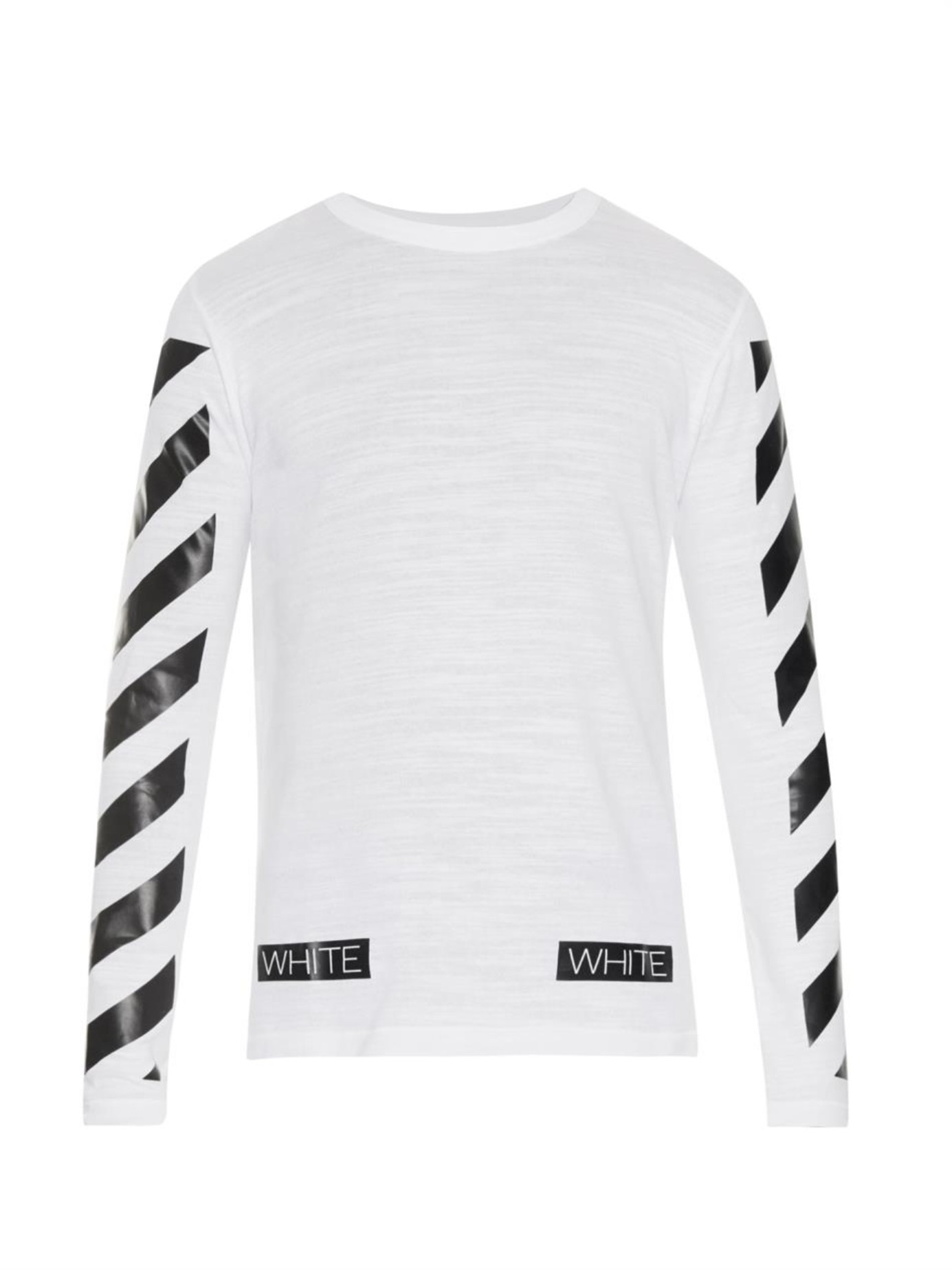 d79d9017b1d88d Off-White c/o Virgil Abloh Striped Long-Sleeved T-Shirt in White for ...